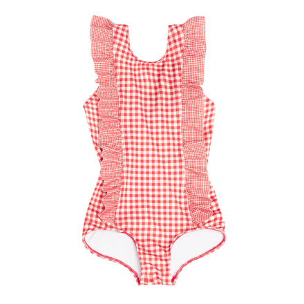 girls red gingham ruffle one piece