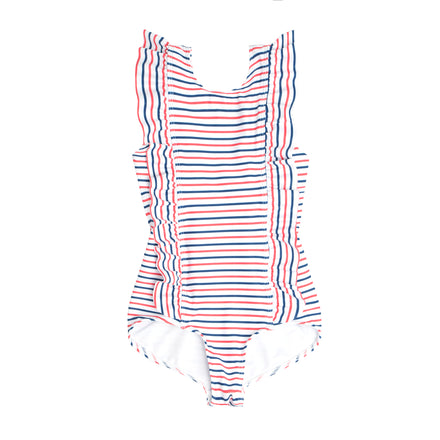 girls mariner stripe ruffle one piece