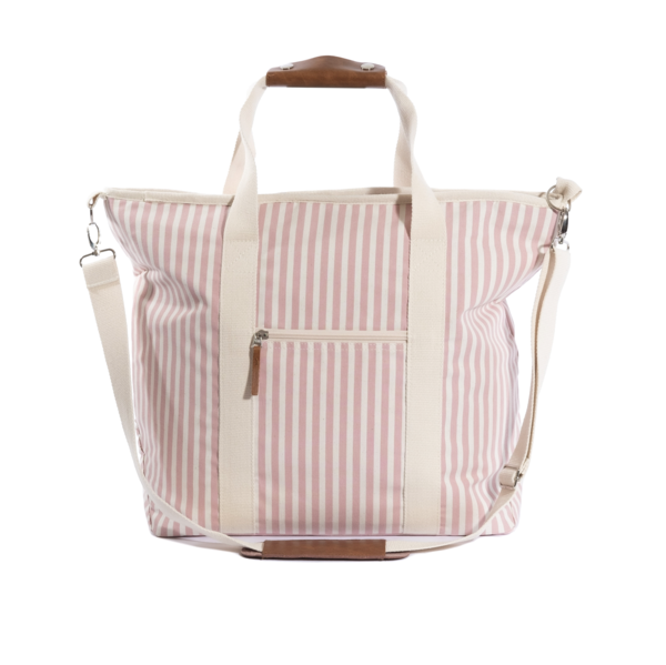 the cooler tote bag, pink stripe