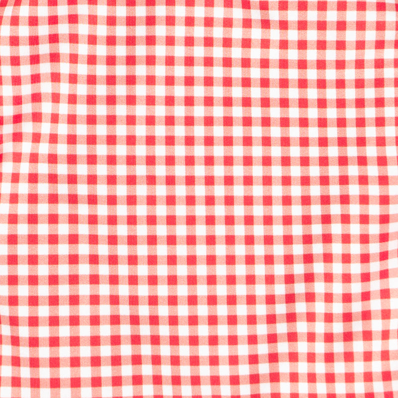 women's red gingham ruffle one piece
