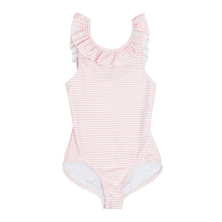 infant infant light pink stripe ruffle collar one piece