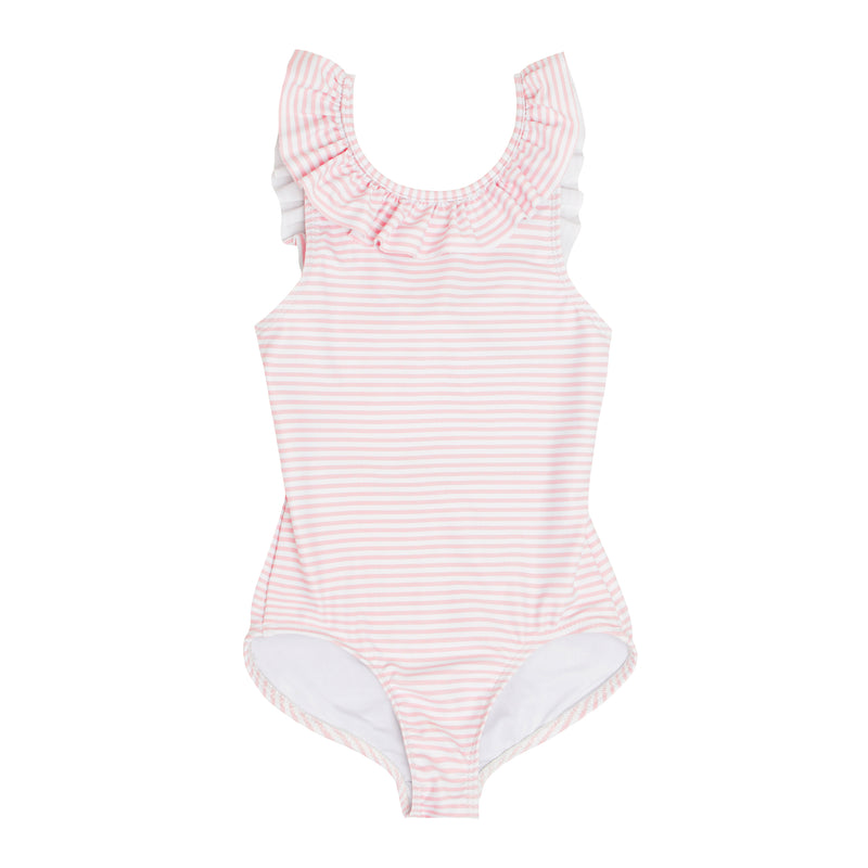 girls light pink stripe ruffle collar one piece