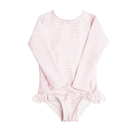 girls light Pink Stripe Rashguard One Piece