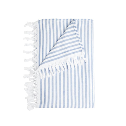 stripe beach towel, blue