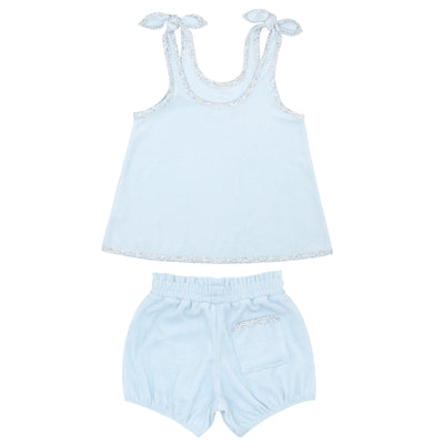 girls blue french terry bloomer set