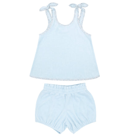 girls blue terry bloomer set