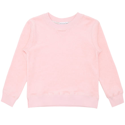 unisex pale pink terry sweatshirt