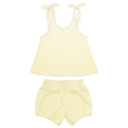 girls yellow french terry bloomer set