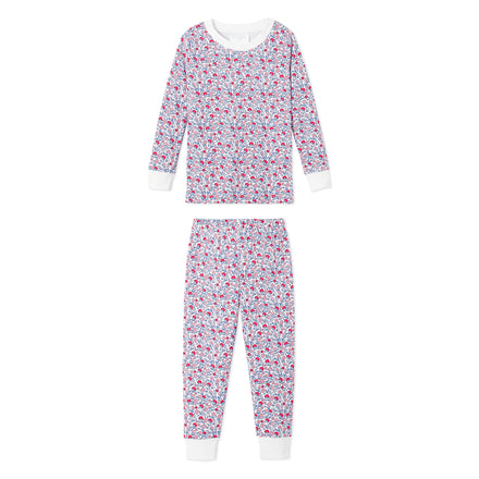 kids americana floral long pajama set