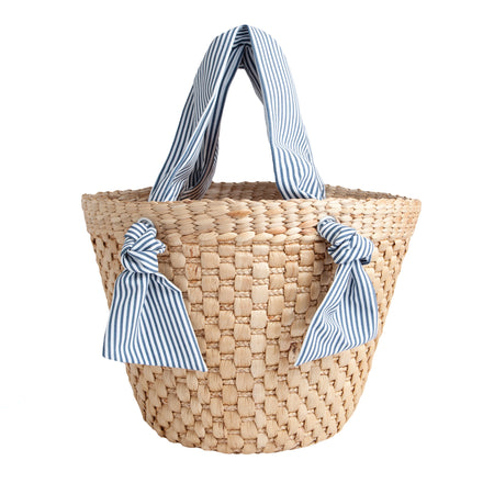 french basket tote in navy stripe