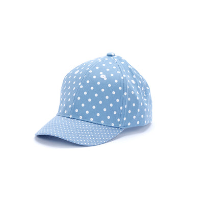 kids polka dot baseball hat, sky blue