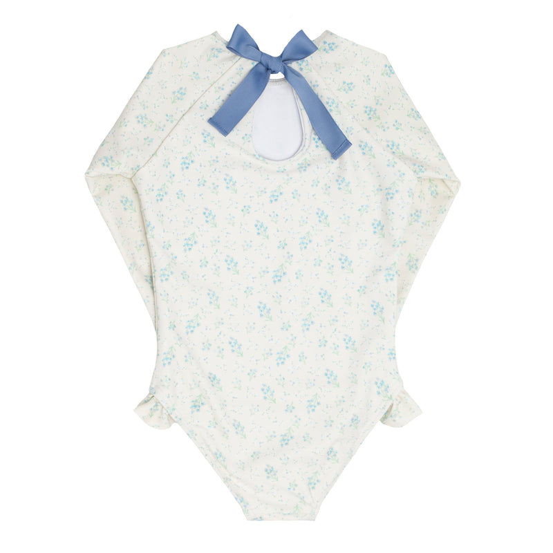 girls crème floral rashguard one piece