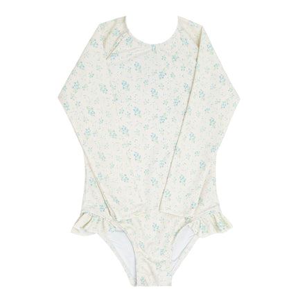 girls creme floral rashguard one piece