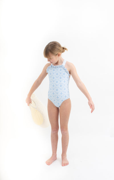 girls mosaic blue floral bib crossover one piece