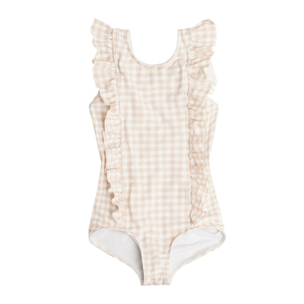 Girls Tan Gingham Ruffle One Piece