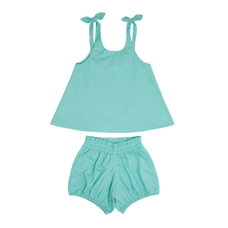 floret teal tie knot bloomer set