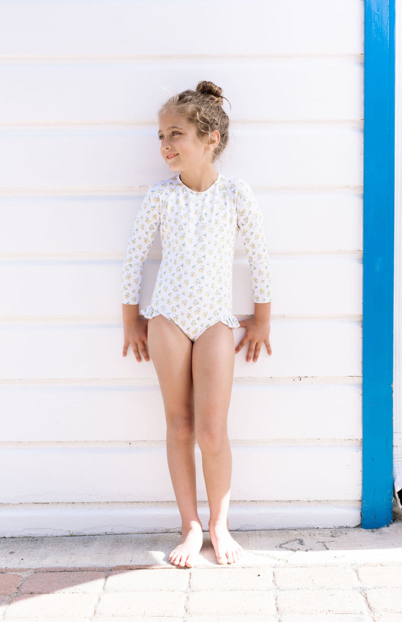 girls lemon drop rashguard one piece