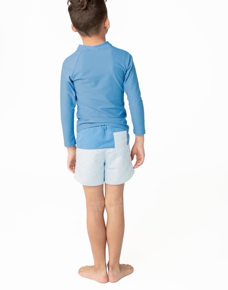 boy's blue color block boardie