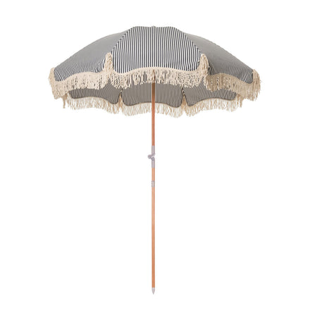 navy stripe beach umbrella