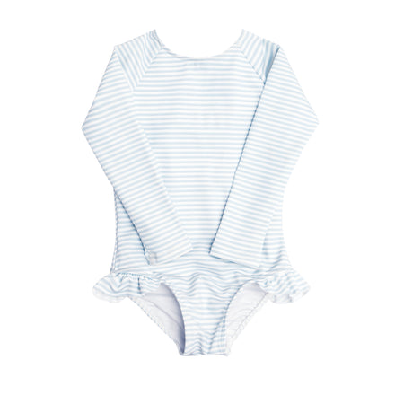 girl's powder blue stripe rashguard one piece