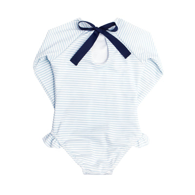 girls powder blue stripe rashguard one piece