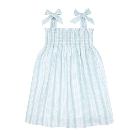 girls linear floral smocked dress