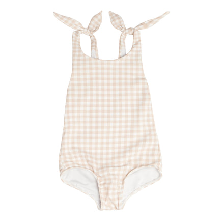 Girl's Tan Gingham Tie Knot One Piece