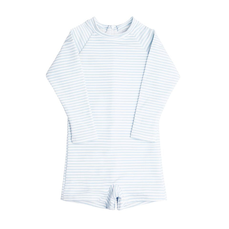 boys powder blue stripe rashguard one piece