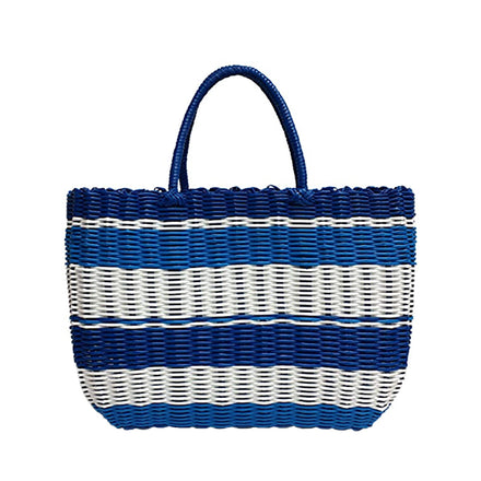 waterproof beach tote, blue stripe