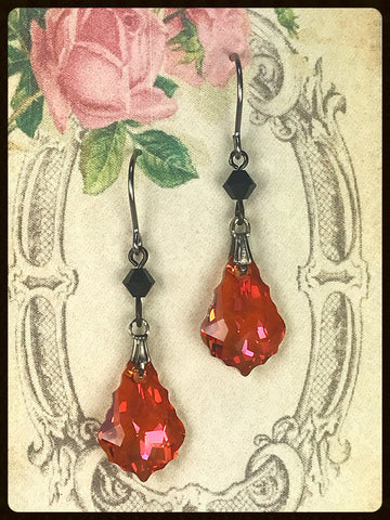 Baroque Crystal Earrings ~ Chili Pepper