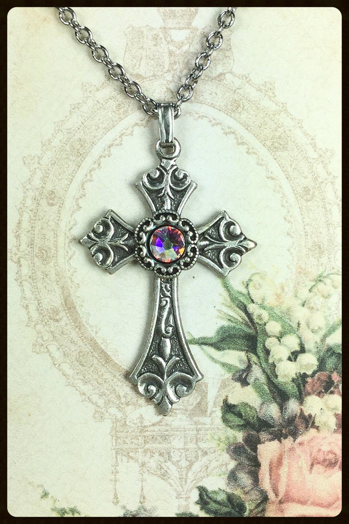 Cross Necklace With Crystal