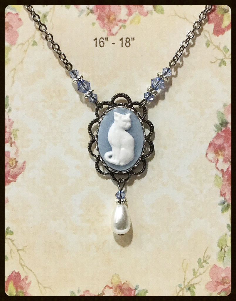 Cat Cameo Necklace with Pearl Drop