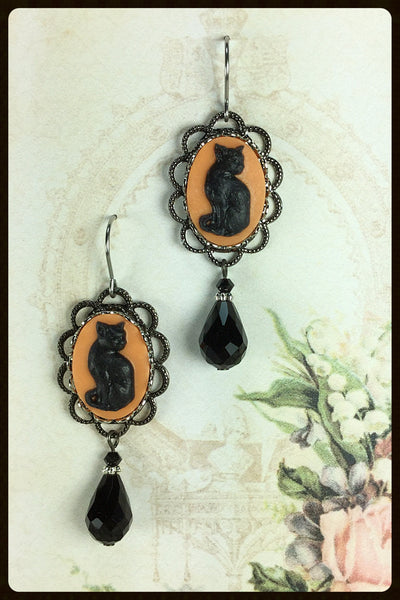 Halloween Cat Cameo Earrings with Teardrop