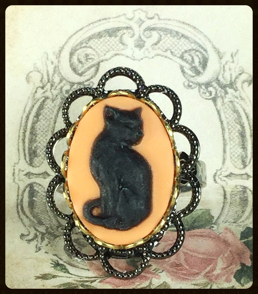Halloween Cat Cameo Ring