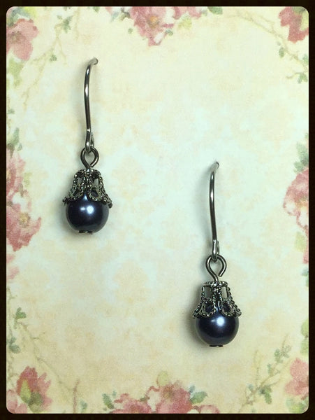 Pearl with Filigree Bead Cap Earrings