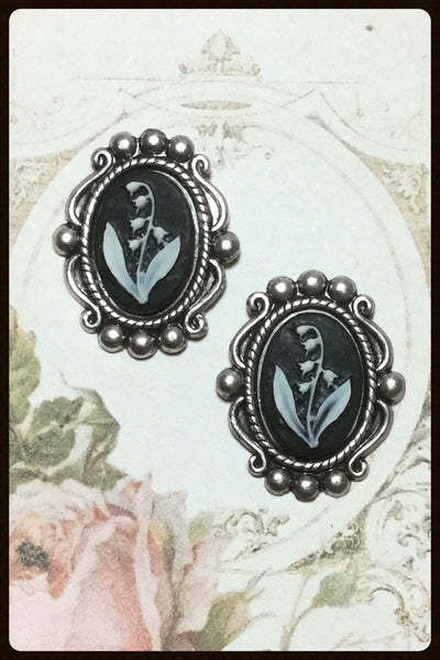 Cameo Post Earring~Black with White Lily of the Valley