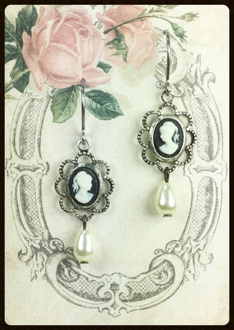 Small Cameo Earrings with Pearl Drop