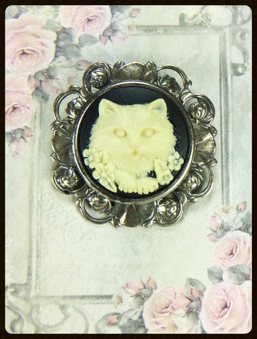 Brooch with Cat Cameo