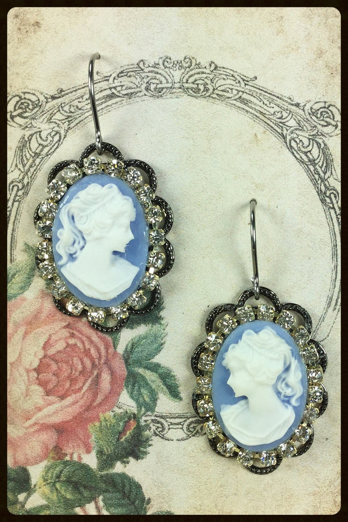 Cameo and Rhinestone Earrings