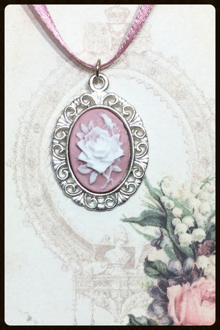 Ribbon Necklace with Cameo Pendant