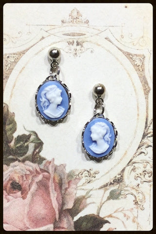 Small Dangle Cameo Post Earrings