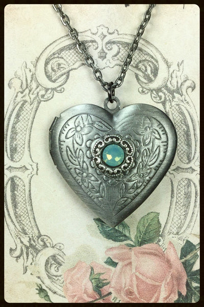Locket~Heart Accented with a Crystal