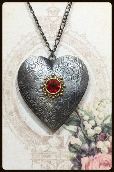 Large Heart Locket~Antique Silver