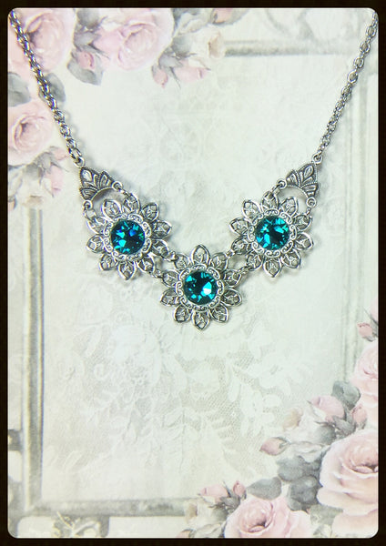 Flower Filigrees & Crystals Necklace