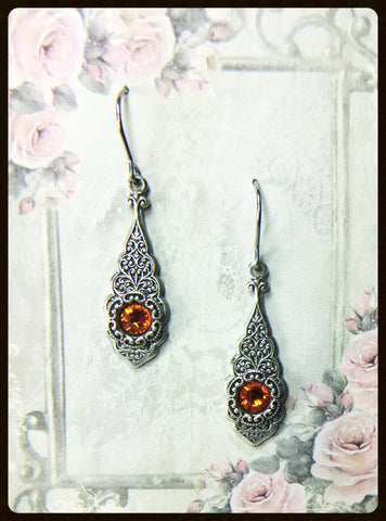 Embossed Pendant Crystal Earrings