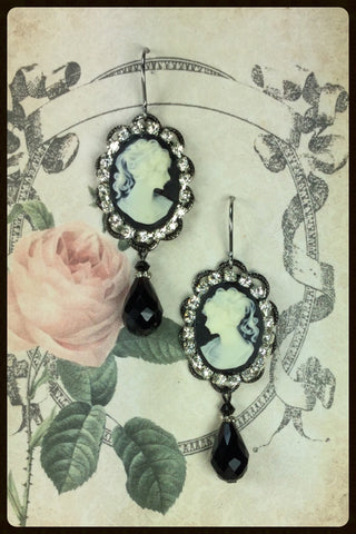 Rhinestones Surrounding Cameos Earrings with Drop