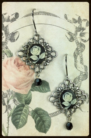 Cameo Earrings with Drops