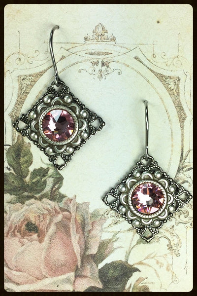 Square Filigree with Crystal Earrings