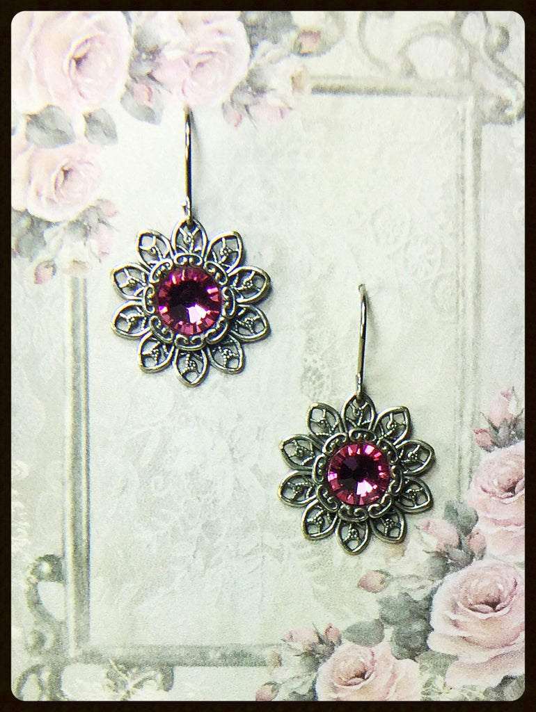 Flower Filigree Crystal Earring