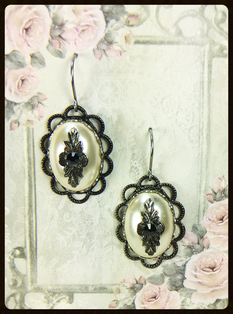 Pearl Art Deco Style Earrings